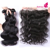 baby waves - Virgin Brazilian Hair With Closure Grade a Human Hair Weaves Ear To Ear Lace Frontal With Baby Hair And Bundle