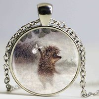 Wholesale 1pcs Hedgehog Pendant Necklace Long Chian Statement Handmade Silver Fashion Necklace Jewelry