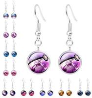 ball dangle earrings - Poke Go Poke Ball Dangle Earrings Poke Halder Chandelier Earrings Women Girls Glass Gem Jewelry XMAS Gifts