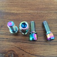 bicycle bolt - New Arrivals M7x18mm Ti Titanium Cap Head with washers bolts Golden multicolor color bicycle bike screws