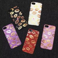 Wholesale Sexy Black Flexible - Sexy Lips Kiss Glitter Leather+Flexible Dirt-resistant Ultrathin Covers Plastic Case For Iphone 7 7Plus 6 6S Plus Mouth Sparking Skin Cover