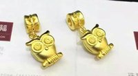 Wholesale Vermeil Super Moetry owls Fashion new design S925 sterling silver plated with real gold gilt owl pendant With black rope cool effect
