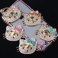 apple cats - Phone Holder Ring Cellphone Metal Degree Luxury Cute Cat Kitty KT Diamond Ring for iPhone s SAMSUNG iPad iPod Card Holders Mounts
