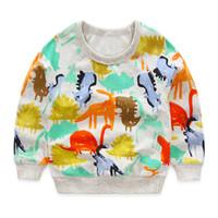 Wholesale Cartoon Shirts For Girls - boys t shirts autumn 2016 new cartoon dinosaur long-sleeve kids t-shirt for boy clothes cute animal printed toddler boy girl t shirt