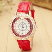 ball wristwatches - Fashion Ladies GOGOEY luxury brand Crystal Diamond Leather Watch Women Rhinestone Ball Quartz Wristwatch Hours Montre Femme