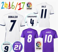 Wholesale free delivery Real Madrid jerseys Real Madrid home Away Soccer jerseys RONALDO BENZEMA JAMES BALE shirt Top Thailand Quality