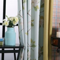 Wholesale Rustic Window Curtains For living Room Bedroom Floral Blackout Curtain Window Treatment drapes Home Decor Blue