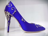 Wholesale Ralph Russo EDEN PUMP TAUPE SATIN WITH SIER LEAVES wedding shoes women s ornamental filigree leaves Embellished party shoes
