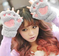 Wholesale 2016 Fluffy Bear Cat Plush Paw Claw Glove Novelty Halloween Soft Toweling Half Covered Women s Gloves Mittens