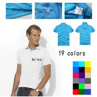 Wholesale POLYESTER Small Horse Logo Mens Polo T Shirts Short Sleeve Shirts Business Casual T Shirts Slim Breathable Tops Lapel Short sleeved Shirts