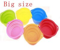 big dog dish - 50pcs Big size x67mm Silicone Pet Dog Cat Feeding Bowl Collapsible Water Dish Portable Feeder Puppy Travel Bowls