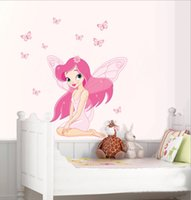 beautiful box art - DHL Factory Direct Beautiful Girl cartoon Wall Stickers Kid Room Home Decoration WallPaper Cartoon Removable cm