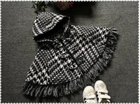 baby cloak - Girls Outfit Thick Baby Girls Poncho Cloak Kids Plaid England Tassel Hooded Cloak Winter Outwear Fashion Black and White Plaid Cape Coat