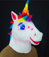 Wholesale cartoon rainbow unicorn mask lovely latex headgear anime halloween cosplay mask