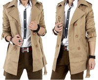 Wholesale Trench Coat Men Classic Men s Double Breasted Trench Coat Mens Long Jackets for Male British Style Overcoat Abrigo Hombre Largo