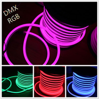 Wholesale 50M x26mm DC12V RGB LED Neon Flex SMD5050 LED Flexible Neon Tube Light Festival Building Decoration Lighting Neon Shop Sign