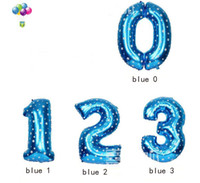 Wholesale number inch cm size L blue pink foil mylar helium Balloons for Birthday Wedding Party Decoration Decor Craft