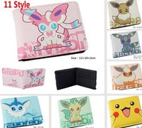 Wholesale 11 Style New Poke Pikachu Eevee Short Wallet Cartoon Movie Anime Characters Unisex Women Men PU Purse