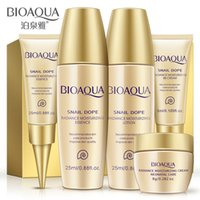 Wholesale set Snail cosmetic skin care products suit travel pack samples hydrating cleansing lotion toner BB cream skin care set