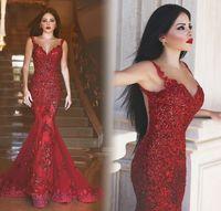 application picture - Robe de soiree Elegant Long Evening Dress V Neck Spaghetti Strap Length Applications Tulle Mermaid Prom Dresses