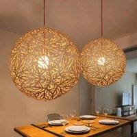 bamboo pendant lamp - 2016 Hot Sale Home Decor Personality Country Bamboo Weaving Pendant Lights Restaurant Study Bedroom Bar Lamp