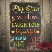 Wholesale quot Play Often Give Love quot Design Wall Hanging Tin Sign Decoration H