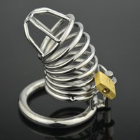 adult card game - Stainless Steel Male Chastity Device Cock Cage Virginity Lock Penis Ring Penis Lock Adult Game Chastity Belt Cock Ring card ring choose