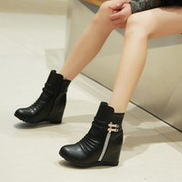 Wholesale 2016 new large size round toes rhinestone wedge high heels height increasing zip women ankle boots JD7610