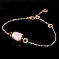 achat en gros de rose jaune bracelets en or blanc-Noir / Blanc / Rose / Violet Bracelets en Zircon, Or jaune / Rose en métal d'or Titane en acier Femmes Chaîne Chaîne Bijoux