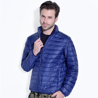 Wholesale Autumn Mens Duck Down Jacket Light Parkas Thin Coat Standing Collar Slim large size Casual Clothes Male Fall Spring Clothing Outwear Sports