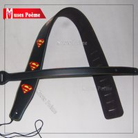 bass rock band - New Black Superman Red inch wide adjustable PU leather Acoustic electric Guitar Strap Rock band bass