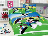 bedroom comforters - Sports Mickey Minnie Mouse Football bed clothes bedroom set for twin full cotton duvet cover sheet comforter bedding sets pc