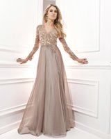 beaded robe - Vestido De Festa Longo Chiffon Sexy Long Evening Dress Lace Long Sleeve Evening Dress Evening Gown Robe De Soiree Elegant