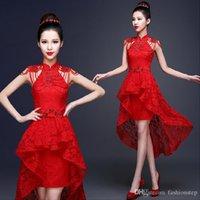 Wholesale 2016 Fashion Red Lace Evening Dress Bride Wedding Qipao Short Cheongsam Dress Chinese Traditional dress