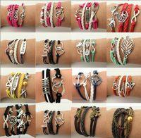 venda por atacado pulseiras infinidade-Pulseiras Infinity HI-Q Moda Jóias Mixed Lotes Infinity Charm Bracelets Lotes de prata Escolha de estilo para pessoas de moda