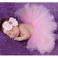 baby shower gift sets - 2016 Flower Newborn Baby Tutu Skirt and Matching Headband Set Fluffy Baby Girl Bow Tutu Skirt Baby Photography Props Shower Gift HB356