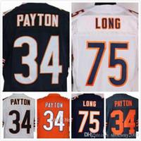 Wholesale Mens Walter Payton Jersey Kyle Long Jersey Elite Full Stitched Jerseys Embroidery Blue Orange White Size S XL