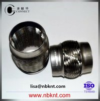 automobile exhaust systems - SS304 SS201 automobile exhaust system parts stainless steel flexible corrugated pipe with inner mesh with double layer bellows