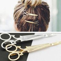 Wholesale 2016New Novelty Head Jewelry Hair Pin Gold Scissors Shears Clip For Hair Barrettes Accessories Headdress For Girl Women