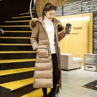 Wholesale Parkas For Women Long Down Coat Fur Collar Winter Jacket Hood Cotton Padded Thick Warm Outwear Young Ladies Girls Winter Clothes Plus Size