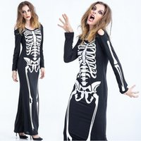 Cheap Halloween costume party skeleton outfit Ghost skeleton zombie long skirt cosplay DS stagewear female the ghost costumes free shipping