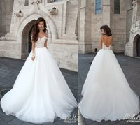 Reference Images bridal fabric - 2016 Cascades A Line Wedding Dresses Tulle Fabric With Appliques Long Sleeve Backless Wedding Gowns Court Train Plus Size Bridal Gowns