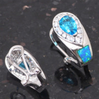 Wholesale New arrival Welcome to Buy Gorgeous Blue Topaz Blue Fire Opal Fashion Silver Stamped Clip Earrings Fashion Jewelry OE232A