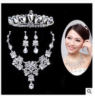 Wholesale HOT Rose Gold Bridal Jewelry Sets Cream Faux Pearl Rhinestone Crystal Diamante Wedding Necklace and Earrings Wedding Jewelry Sets TOP597ZZ