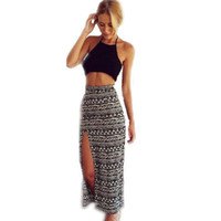 bell maxi skirt - New Sexy Two Piece Women Set Halter Backless crop top and skirt set Print Split Maxi Skirt Bohemia Beach Dress Cropped e Saia