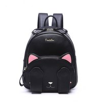 Wholesale 2016 Cute Brand fashion leather backpack lovely cat pattern black shoulder bag satchels for women girl lady