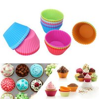 Wholesale New Round Shape Colors Silicone Muffin Cupcake Mould Case Bakeware Maker Mold Tray Baking Cup Liner Baking Molds