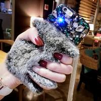 apple alloy hair - i7 Luxury Rabbit Fur Hair Phone Case for iphone s plus Fashion Bling Diamond Alloy Tassel Cover Funda for Girl Lady