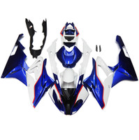 Wholesale ABS Injection Fairings For BMW S1000RR Complete Plastic Motorcycle Fairing Kit Motorbike Cowlings Body Kits White Blue