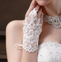 Wholesale Cheap short Bridal gloves lace bow wedding gloves fingerless beaded lace wedding gloves